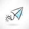 Papier Flugzeug und Glühbirne Grunge-Ikone