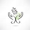 Schützende Hände Ökologie Symbol