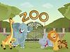 Zoo mit afrikanischen Tieren | Stock Vektrografik