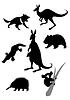 Silhouetten der australische tiere