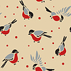 Bullfinches seamless pattern | Stock Vector Graphics