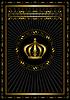 Złota ramki z odznaką oraz korony na czarnym tle | Stock Vector Graphics