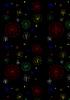 Zarte farbigen Strahlen mit Kugeln auf schwarzem Hintergrund
