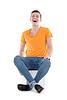 큰 소리로 웃는 젊은 남자, | Stock Foto