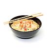Krewetki i makaron zupa miski z pałeczkami   Stock Foto