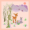 Wielkanoc, wiosna, krajobraz, uroczy, cartoon jelenia | Stock Vector Graphics
