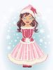 Nettes Santa Mädchen mit Schneeflocken, Vektor-Illustration