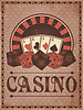 Old Vintage-Casino-Einladungskarte, Vektor-Illustration