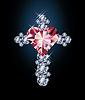 Diamant-Kreuz und Rubin Herz, Vektor-Illustration