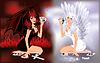 Engel und Teufel Mädchen spielen Poker, Vektor