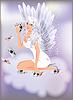 Sexy Engel Mädchen und Poker-Karten, Vektor-Illustration