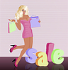 blonde Frau mit Einkaufstasche, Vektor-Illustration