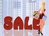 Blonde Frau mit Einkaufstüten, Vektor-Illustration