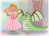 Niedliche Prinzessin mit Rose und Drachen, Happy St. George
