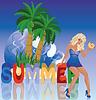 Sommer sexy blonde Mädchen, Vektor-Illustration