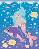 Kleine Meerjungfrau Mädchen und Delfin-, Vektor-Illustration