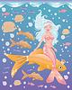 Junge Mädchen mit Meerjungfrau goldenen Fisch, Vektor