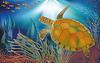 Unterwasserwelt Tapete mit Schildkröte, Vektor