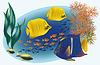 Meerestiere mit tropischen Fischen, Vektor-Illustration