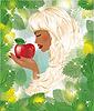 Eva und roten Apfel, Vektor-Illustration