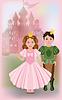 Nette kleine Prinzessin mit Prinz, Vektor-Illustration