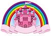 Märchen rosa Zauberschloss und Regenbogen, Vektor-