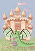 Cute Drachen und Zauberschloss, Vektor-Illustration