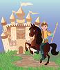 Kleine Prinz und Märchenzauberschloss Vektor