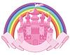Märchen Zauberschloss und Regenbogen, Vektor-