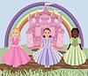 Drei kleine Mädchen oder Prinzessinnen und Märchenschloss
