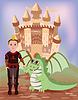 Kleine Prinz und Drache, Vektor-Illustration