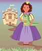 Kleine Prinzessin und niedlichen Drachen, Vektor-Illustration