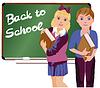 Zurück in die Schule Kleine niedliche Schule Jungen und Mädchen, Vektor-
