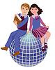 Zurück zur Schule. Cute Schule Mädchen und Jungen mit Globus