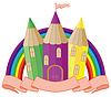 Zurück zur Schule. fabelhafte Schule Burg. Vektor
