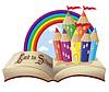 Zurück zur Schule. Magisches Buch und fabelhafte Schule Schloss,