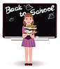 Zurück zur Schule. Nette kleine Schulmädchen mit Bücher.