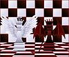 Schach-Königin Engel und Teufel. Vektor-Illustration