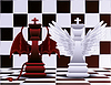 Schach-König Engel und Teufel Vektor-Illustration