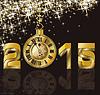 Векторный клипарт: С Новым 2015 годом и золотые часы, вектор