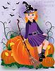 Kleines Mädchen Hexe in schwarzen Hut, Vektor-Illustration