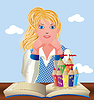 Zurück in die Schule. Nette kleine Schulmädchen mit Buch