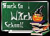 Zurück zu Hexenschule. Grußkarte, Vektor