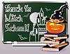 Zurück zu Hexenschule. Einladungskarte mit Bücher