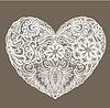 La forma del corazón está hecho de pañito de encaje, los elementos para | Ilustración vectorial
