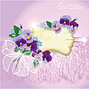 Valentinstag oder Hochzeitskarte mit Stiefmütterchen und