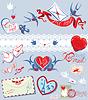 Recolección de correo de amor elementos de diseño - aves, | Ilustración vectorial