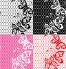 Conjunto de encaje de patrones sin fisuras con las mariposas - | Ilustración vectorial