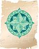 Antik Zier-Windrose auf Pergament Hintergrund