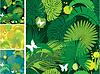 Conjunto de patrones sin fisuras con las hojas de las palmeras | Ilustración vectorial